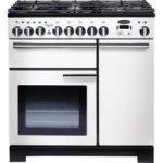 RANGEMASTER Professional Deluxe 90 Dual Fuel Range Cooker – White & Chrome, White