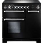 RANGEMASTER Kitchener 90 Electric Ceramic Range Cooker – Black & Chrome, Black