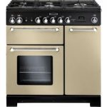 RANGEMASTER Kitchener 90 Dual Fuel Range Cooker – Cream & Chrome, Cream