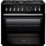 RANGEMASTER Professional FX 90 Dual Fuel Range Cooker – Gloss Black & Chrome, Black