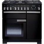 RANGEMASTER Professional Deluxe 90 Dual Fuel Range Cooker – Gloss Black, Black