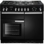 RANGEMASTER Professional Dual Fuel Range Cooker – Black & Chrome, Black