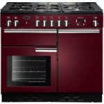RANGEMASTER Professional 100 Dual Fuel Range Cooker – Cranberry & Chrome, Cranberry