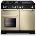 RANGEMASTER Kitchener 100 Dual Fuel Range Cooker – Cream & Chrome, Cream
