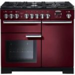 RANGEMASTER Professional Deluxe 100 Dual Fuel Range Cooker – Cranberry & Chrome, Cranberry