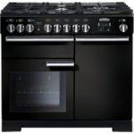 RANGEMASTER Professional Deluxe 100 Dual Fuel Range Cooker – Black & Chrome, Black