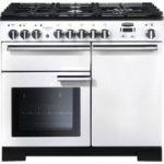 RANGEMASTER Professional Deluxe 100 Dual Fuel Range Cooker – White & Chrome, White