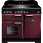 RANGEMASTER Classic Deluxe 100 Electric Induction Range Cooker – Cranberry & Chrome, Cranberry