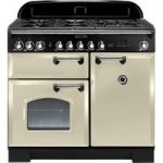 RANGEMASTER Classic Deluxe 100 Dual Fuel Range Cooker – Cream & Chrome, Cream