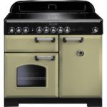 RANGEMASTER Classic Deluxe 100 Electric Induction Range Cooker – Olive Green & Chrome, Olive