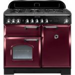 RANGEMASTER Classic Deluxe 100 Dual Fuel Range Cooker – Cranberry & Chrome, Cranberry
