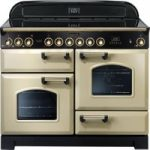 RANGEMASTER Classic Deluxe 110 Electric Ceramic Range Cooker – Cream & Brass, Cream