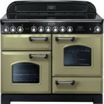 RANGEMASTER Classic Deluxe 110 Electric Range Cooker – Olive Green & Chrome, Olive