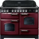 RANGEMASTER Classic Deluxe 110 Electric Ceramic Range Cooker – Cranberry & Chrome, Cranberry