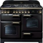 RANGEMASTER Classic Deluxe 110 Dual Fuel Range Cooker – Black & Brass, Black