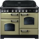 RANGEMASTER Classic Deluxe 110 Electric Induction Range Cooker – Olive Green & Chrome, Olive