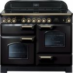 RANGEMASTER Classic Deluxe 110 Electric Ceramic Range Cooker – Black & Brass, Black