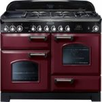 RANGEMASTER Classic Deluxe 110 Dual Fuel Range Cooker – Cranberry & Chrome, Cranberry