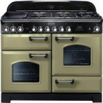 RANGEMASTER Classic Deluxe 110 Dual Fuel Range Cooker – Olive Green & Chrome, Olive