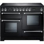 RANGEMASTER Kitchener 110 Electric Ceramic Range Cooker – Black & Chrome, Black