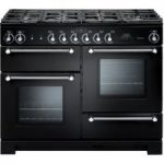 RANGEMASTER Kitchener 110 Dual Fuel Range Cooker – Black & Chrome, Black