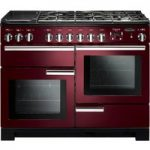 RANGEMASTER Professional Deluxe 110 Dual Fuel Range Cooker – Cranberry & Chrome, Cranberry