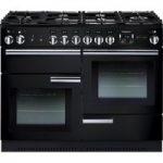 RANGEMASTER Professional 110 Gas Range Cooker – Black & Chrome, Black