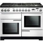 RANGEMASTER Professional Deluxe 110 Dual Fuel Range Cooker – White & Chrome, White