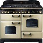 RANGEMASTER Classic Deluxe 110 Dual Fuel Range Cooker – Cream & Brass, Cream
