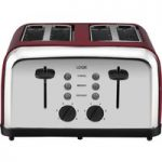 LOGIK L04TR14 4-Slice Toaster – Silver & Red, Silver
