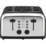 LOGIK L04TBK14 4-slice Toaster – Black & Silver, Black